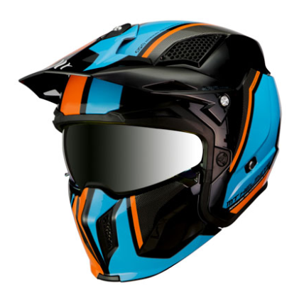 CASQUE STREETFIGHTER ORANGE-BLEU-NOIR