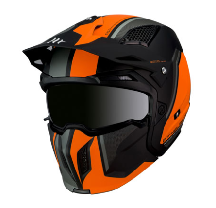 CASQUE STREETFIGHTER ORANGE-NOIR MAT